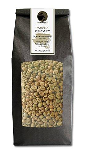 Rohkaffee - Grüner Kaffee Robusta Indian Cherry (grüne Kaffeebohnen 1000g)