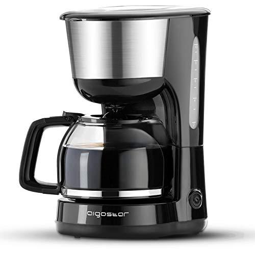 Aigostar Kaffeemaschine Edelstahl, 1000watt Filterkaffeemaschine Glaskanne bis 10 Tassen, 1,25l, Warmhalteplatte, Abschaltautomatik, Tropf-Stopp, schwarz