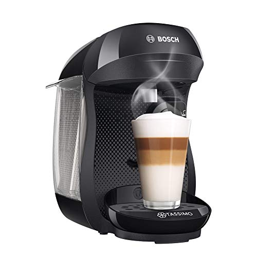Bosch TAS1002 Tassimo Happy Kapselmaschine, über 70 Getränke, vollautomatisch, geeignet für alle Tassen, kompakte Größe, 1400 W, schwarz