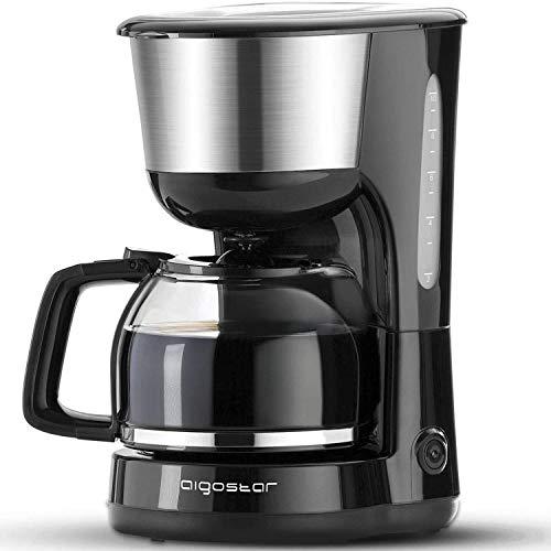 Aigostar Chocolate 30HIK - Kaffeemaschine Edelstahl, 1000watt Filterkaffeemaschine Glaskanne bis 10 Tassen, 1,25l, Warmhalteplatte, Abschaltautomatik, Tropf-Stopp, schwarz