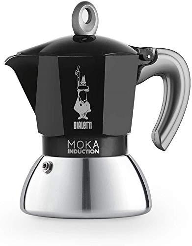 Bialetti New Moka Induction, Kaffeemaschine für Induktion geeignet, Aluminium/Stahl, 2 Tassen, Black