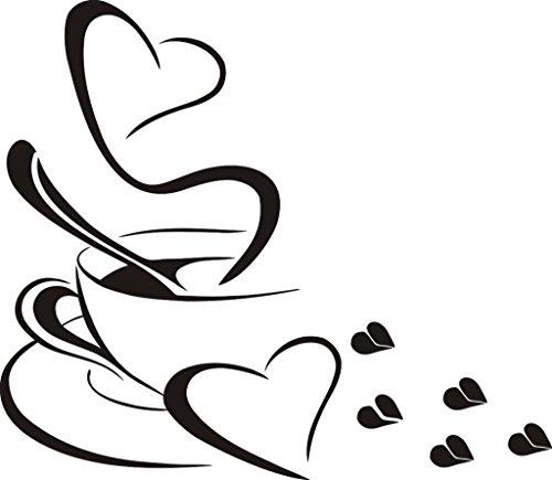 Wandtattoo wandaufkleber Aufkleber Wandsticker wall sticker Wohnzimmer Schlafzimmer Kinderzimmer Kueche Schriftzug CAFE COFFEE KAFFEE 30 Farben zur Wahl cafe05 (070 schwarz, Size 1:ca.5x6cm(ohne Kaffeebohnen ))