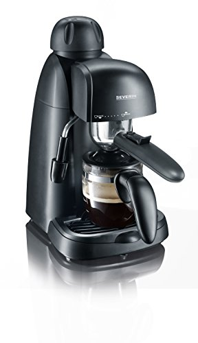 SEVERIN Espressomaschine, kleine Kaffeemaschine für bis zu 4 Tassen Espresso, Kaffeemaschine mit Milchschäumer für Kaffee-Milch-Spezialitäten, ideal für Singles, schwarz, KA 5978