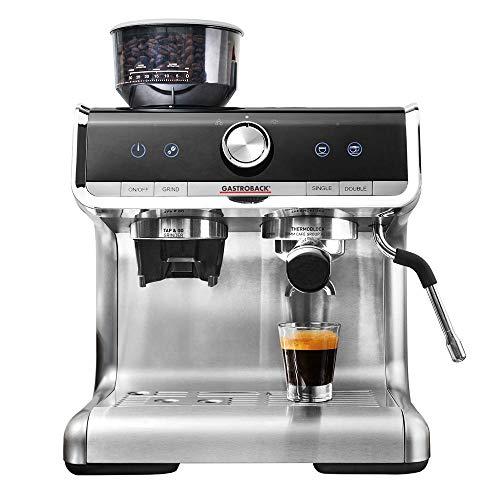 GASTROBACK #42616 Design Espresso Barista Pro, programmierbare Siebträger-Espressomaschine mit Kegelmahlwerk und professioneller italenischer ULKA Espressopumpe (15 bar) im modernen Design
