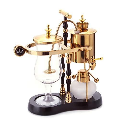 Diguo Belgischer / Belgien Family Balance Siphon / Siphon Kaffeemaschine, eleganter Doppelrippen-Fulcrum mit T-Griff (ägyptische Schwarz & Gold)