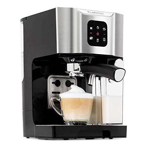 Klarstein BellaVita Espressomaschine mit Milchschaum-Düse, 3in1 Kaffeemaschine, Siebträger, 20 Bar, 1450 Watt, 1.4 Liter, für Cappucino, Espresso, Latte Machiato, grausilber