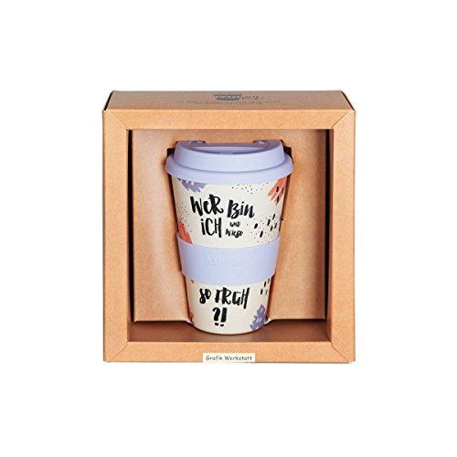Grafik Werkstatt | Bambusbecher mit Deckel | Kaffee-Becher | Coffee-to-Go | 400 ml | Bamboo-to-go | Wer bin ich?