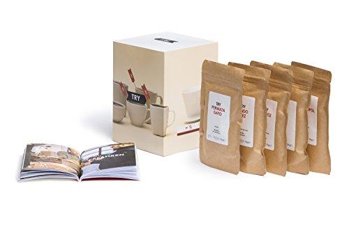 TRY Kaffee Geschenkset, ganze Bohnen - bekannt aus 'Die Höhle der Löwen' - fünf Spitzen-Kaffees aus aller Welt & 60-seitiges Booklet - das perfekte Geschenk für alle Kaffee-Fans!