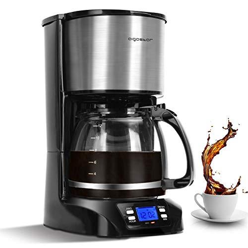 Aigostar Benno - Digitale Kaffeemaschine, Kaffeebrüher mit programmierbarer Timer, bis 12 Tassen, 1,5L, Warmhalteplatte, Tropf-Stopp, 800Watt, FilterKaffeemaschine Edelstahl, Schwarz