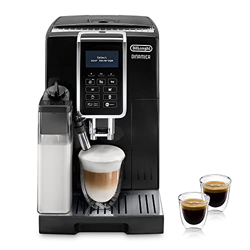 De'Longhi Dinamica ECAM 350.55.B Kaffeevollautomat mit LatteCrema Milchsystem, Cappuccino, Espresso & Kaffee auf Knopfdruck, Digitaldisplay, 2-Tassen-Funktion, Großer 1,8 L Wassertank, schwarz