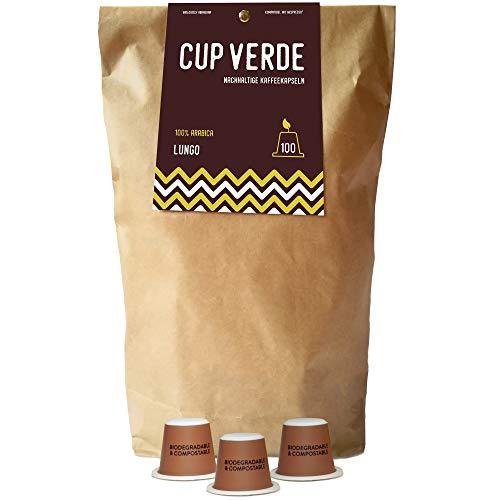 CUP VERDE - 100 nachhaltige Kaffeekapseln LUNGO Nespresso* kompatibel. Kompostierbar - fair gehandelt - schonend geröstet. Biologisch abbaubar.