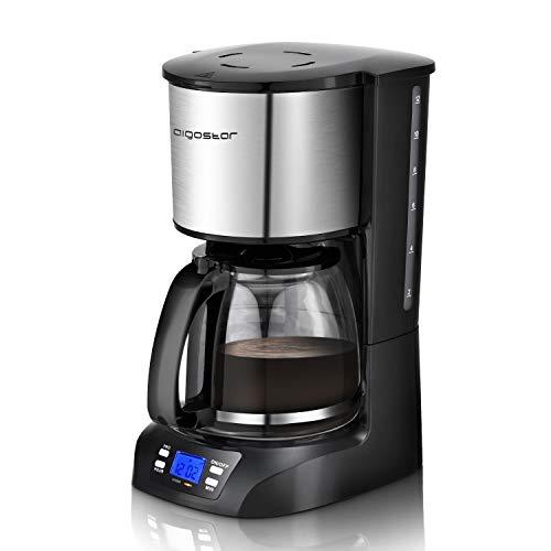 Aigostar Benno - Digitale Kaffeemaschine, Programmierbarer Timer, bis 12 Tassen, 1,5l Glaskanne, Warmhalteplatte, Tropf-Stopp, 800Watt, Filterkaffeemaschine Edelstahl/Schwarz
