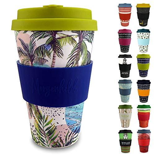 Morgenheld Dein trendiger Bambusbecher | Coffee-to-Go-Becher | Kaffeebecher mit Silikondeckel und Banderole in coolem Design 400 ml (Wave)