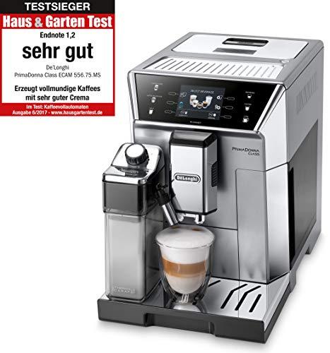 De'Longhi PrimaDonna Class ECAM 556.75.MS Kaffeevollautomat mit Milchsystem, Cappuccino und Espresso auf Knopfdruck, 3,5 Zoll TFT Farbdisplay und App-Steuerung, silber
