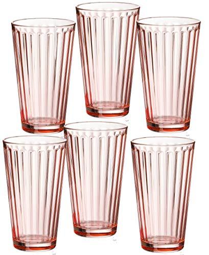 Ritzenhoff & Breker 807028 Longdrinkgläser-Set Lawe Stripes, 6-teilig, je 400 ml, Rosé, Glas, 400 milliliters