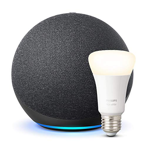 Der neue Echo (4. Generation), Anthrazit + Philips Hue White LED-Lampe