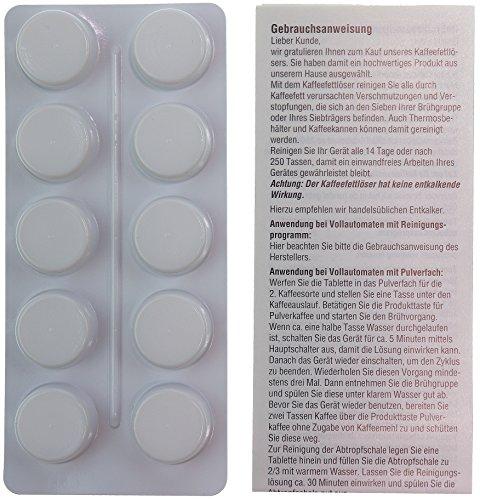 10 Reinigungstabletten für Kaffeevollautomaten   z.B. für JURA, SAECO, KRUPS, MELITTA, WMF   Blister mit Anleitung in Schachtel   Tabletten je Ø18mm, 1,6g