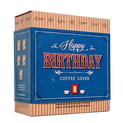 Kaffee Geschenk Set zum Geburtstag - 5 Beste Single Estate Spezialitäten & Bio Kaffees Aus Aller Welt | Brauen & Genießen Sie Jederzeit & Überall | Kaffeeliebhaber Geschenkidee für Männer & Frauen