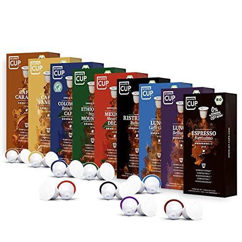 My-CoffeeCup – KAFFEE-LIEBHABER-BOX: 90 KAPSELN BIO-KAFFEE I Kaffeekapseln für Nespresso®*-Kapselmaschinen I 100% industriell kompostierbare Kaffeekapseln – 0% Alu I Nachhaltige Kaffeekapseln