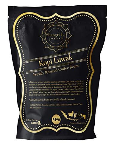Shangri-La Coffee - Wilde Kopi Luwak Kaffeebohnen Gemahlen - 250 Gramm (Andere Gewichte Und Bohnentypen Erhältlich) - Ethisch Von Freilebenden Tieren Bezogen (Aus Indonesien)