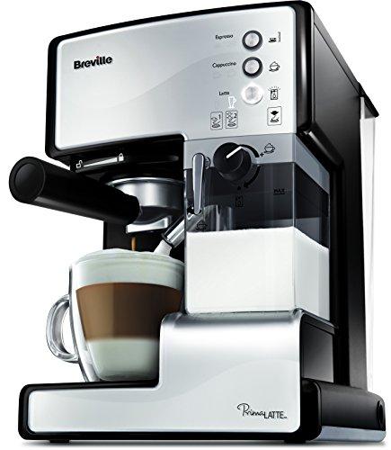 Breville PrimaLatte Kaffee- und Espressomaschine | italienische Pumpe mit 15 Bar | fr Kaffeepulver oder Pads geeignet | Integrierter automatischer Milchschäumer | Metallic/Weiß | VCF045X