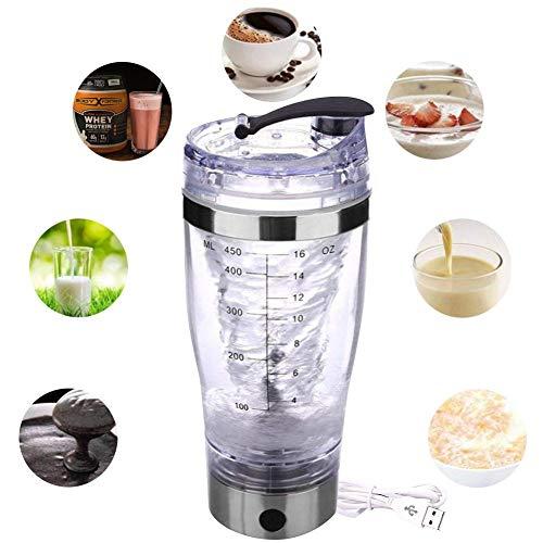 Kindlyperson Tragbare elektronische Mixer Shaker Flasche, automatische Rühren Milchshake-Kaffee mit USB-Aufladung für Proteinpulver Shakes Smoothies 450ML
