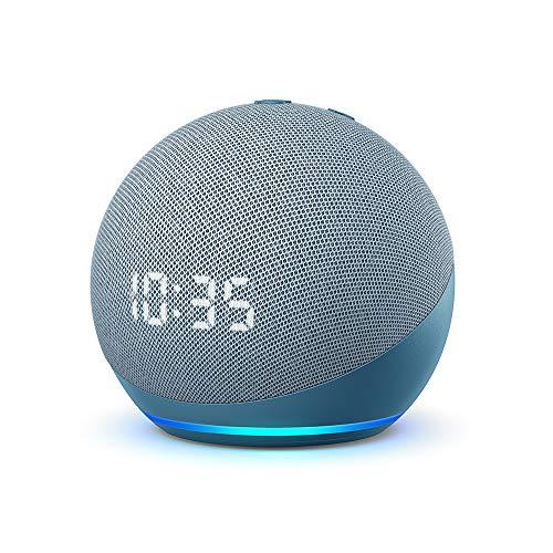 Der neue Echo Dot (4. Generation)   Smarter Lautsprecher mit Uhr und Alexa   Blaugrau