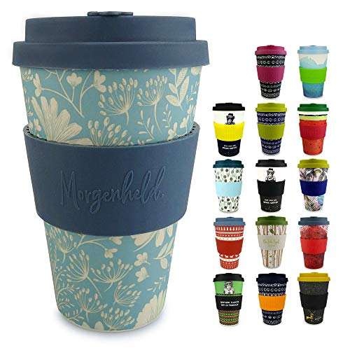 Morgenheld Dein trendiger Bambusbecher | Coffee-to-Go-Becher | Kaffeebecher mit Silikondeckel und Banderole in coolem Design 400 ml (Flower)