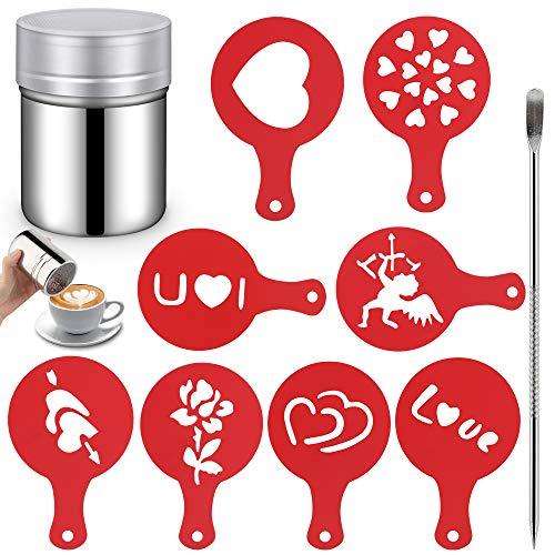Edelstahl Kakaostreuer, HICOO Edelstahl Pulver Shaker mit 8 Kunststoff Cappuccino Kaffee Barista Schablonen Kaffee und Kunst Schablonen Stift