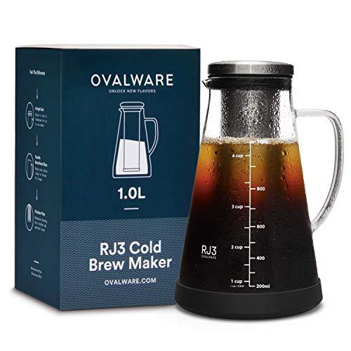 Cold Brew Coffee Maker - Luftdichte Kaffeemaschine für kalten Kaffee und Teesieb mit Ausguss - 1,0L / 34oz Ovalware RJ3 Brühglaskaraffe mit abnehmbarem Edelstahlfilter
