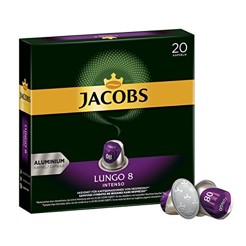 Jacobs Kaffeekapseln Lungo Intenso, Intensität 8 von 12, 200 Nespresso* kompatible Kapseln, 10 x 20 Getränke