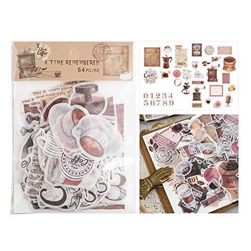 CAOLATOR. Vintage Kaffee Sticker Aufkleber Kinder Sticker Papier Deko Mädchen Sticker für Scrapbooking Tagebuch Notizbuch Kalender Stickerbuch Dekoration