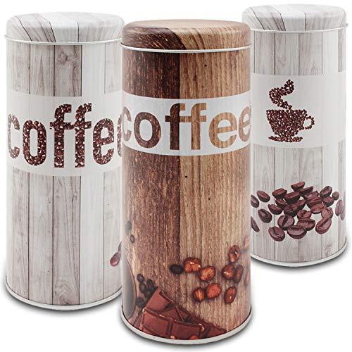 com-four® 3X Kaffeepaddose - Kaffeedose für Kaffeepads - Aufbewahrungsbehälter für Kaffeepads - Dekodose im Vintage Look (3 Stück - Set Vintage)