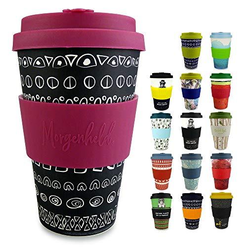 Morgenheld Dein trendiger Bambusbecher | Coffee-to-Go-Becher | Kaffeebecher mit Silikondeckel und Banderole in coolem Design 400 ml (Blacky Berry)