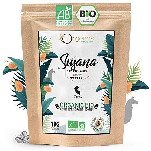 ☘️ BIO Kaffeebohnen 1kg | Biologische Arabica Kaffee Ganze Bohnen | Single Origin Peru Susana | Säurearm | Traditionelle Röstung