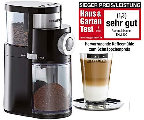 ROMMELSBACHER Kaffeemühle EKM 200 – aromaschonendes Scheibenmahlwerk, Mahlgrad einstellbar von grob bis extra fein, 2-12 Portionen, Füllmenge Bohnenbehälter 250 g, 110 Watt, schwarz