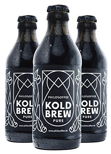 Philosoffee Koldbrew Pure | 9 Flaschen | Cold Brew Coffee aus Spezialitätenkaffee | 100% Bio & Nachhaltig |