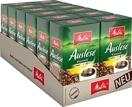 Melitta Gemahlener Röstkaffee, Filterkaffee, kräftig mit rundem Aroma, Stärke 4, Auslese Klassisch, 12er Pack (12 x 500 g)