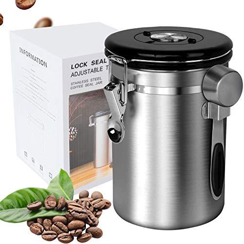 Kaffeedose Edelstahl Luftdicht Vorratsdose Kaffeebehälter für Kaffeebohnen Pulver Tee Nüsse Kakao Aromadose Vakuum Kaffee Dose mit Datumsverfolgung CO2-Freigabeventil und Messlöffel (Silber, Groß)