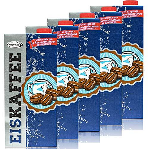 Hochwald - 5er Pack Premium Eiskaffee 1,5% fettarm in 1 Liter Packung - Ice Coffee als Kaltgetränk - Aromatisches Milchgetränk mit Kaffee